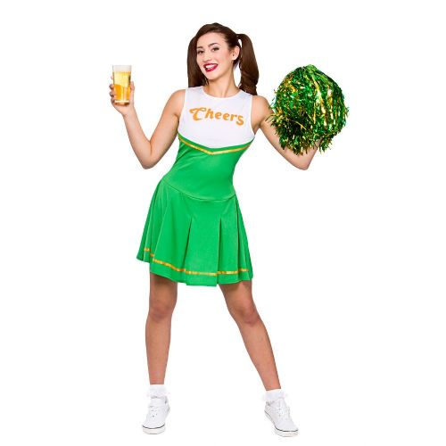 Adult Ladies Cheers Cheerleader Green / Gold Costume Football Highschool Cosplay